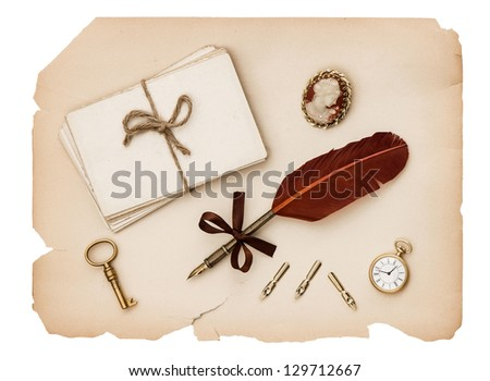 vintage accessories, old letters and antique paper. nostalgic sentimental background - stock photo