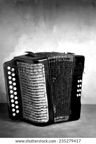 Vintage accordion musical instrument on grunge still life style black and white version - stock photo