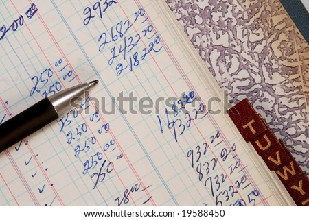 Vintage accounting Ledger with alphabetical tag - stock photo