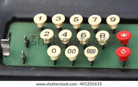 Vintage adding machine, flea market, Germany. - stock photo