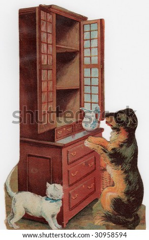Vintage Advertising Card Illustration - Hungry Dog and Cat - stock photo