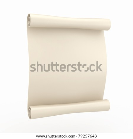 Vintage aged papyrus on white isolated background. 3d - stock photo