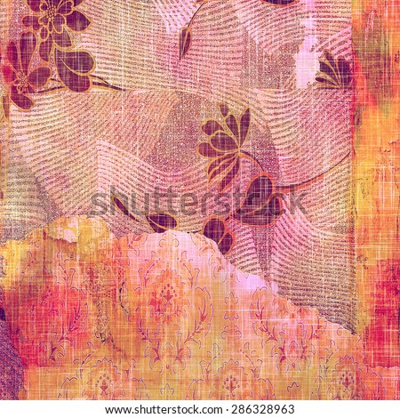 Vintage aged texture, colorful grunge background with space for text or image. With different color patterns: yellow (beige); purple (violet); red (orange); pink - stock photo