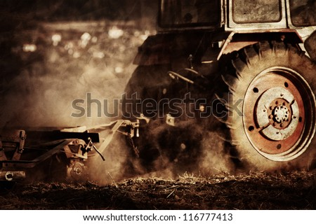 vintage agriculture industrial background in autumn time - stock photo