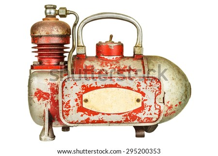 Vintage air compressor isolated on a white background - stock photo