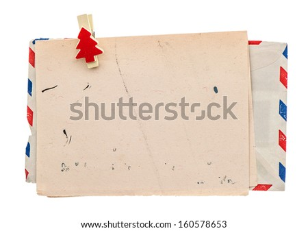 vintage air mail envelope. retro christmas post letter. grungy paper background - stock photo