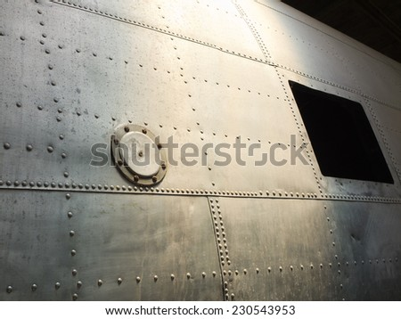 vintage aircraft fuselage - stock photo