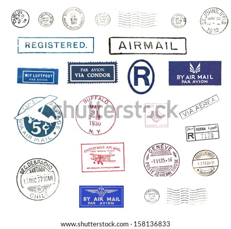 Vintage airmail stamps - stock photo