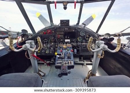 Vintage airplane cockpit interior - stock photo