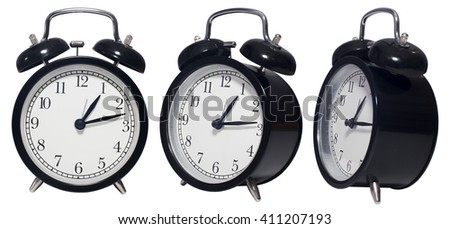 Vintage Alarm black Clock isolated on white in three angles - stock photo