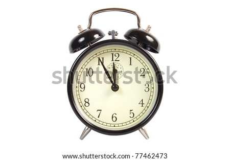 Vintage Alarm Clock isolated on white - stock photo
