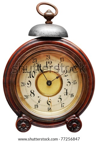 Vintage alarm-clock isolated on white. Clipping path included. - stock photo