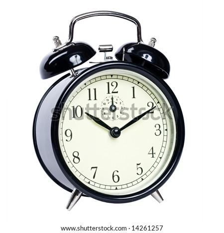 Vintage alarm clock with clipping path - stock photo