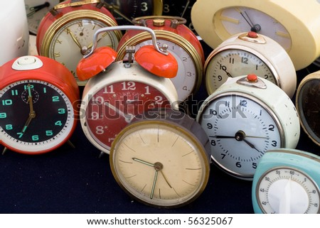 Vintage alarm clocks - stock photo