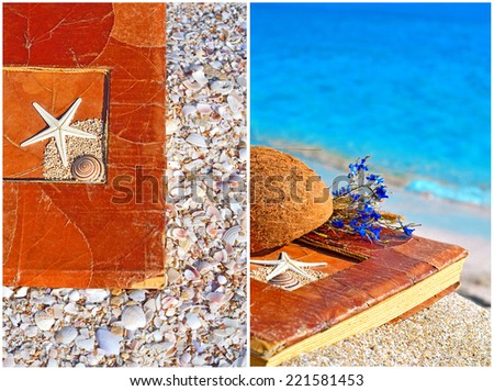 Vintage album on the sand with coconut shell and flowers. Collage - stock photo