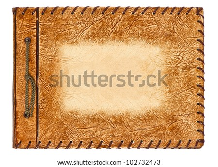 vintage album with brown leather cover on white background - stock photo