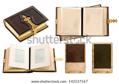 vintage album with retro photo cards. antique book with golden decoration isolated on white background - stock photo