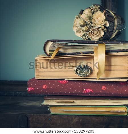 Vintage Albums with Photos of Memories, toned image - stock photo
