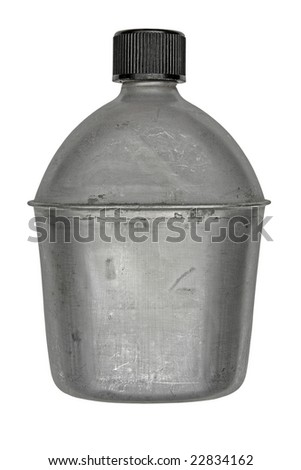 vintage aluminum army canteen isolated over white - stock photo