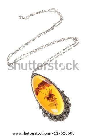 Vintage amber necklace isolated on white background - stock photo