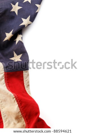 Vintage American flag border isolated on a white background - stock photo
