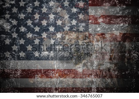 Vintage American flag on old wall. - stock photo