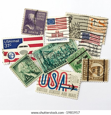 vintage american stamps - stock photo