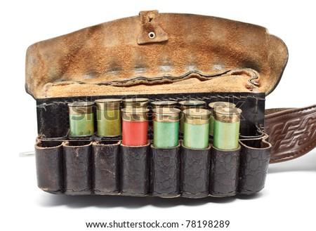 vintage ammunition belt isolated on white background - stock photo