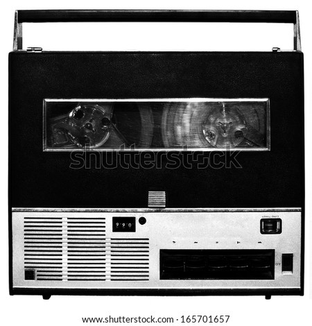 Vintage analog recorder reel isolated over white background. - stock photo
