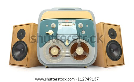 Vintage analog recorder reel to reel and wooden speakers on white background, isolated path included - stock photo
