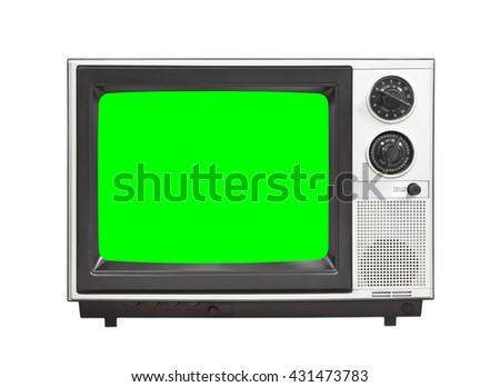 Vintage analog television isolated on white with chroma key green screen - stock photo