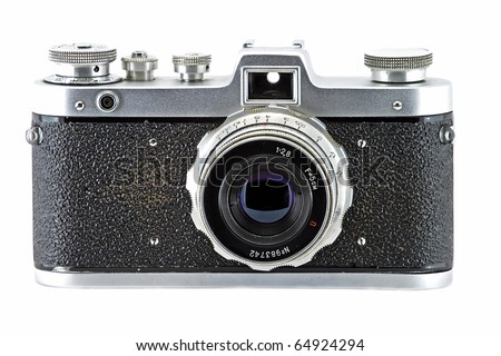 Vintage and retro camera (front view) isolated in white - stock photo
