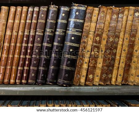 Vintage, antiquarian books. Retro background.  - stock photo