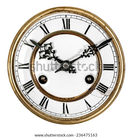 Vintage antique clock isolated on white background - stock photo