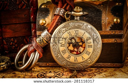 Vintage Antique pocket watch. Vintage grunge still life. - stock photo