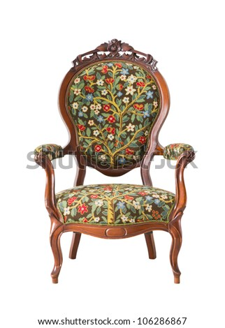 vintage armchair isolated with clipping path - stock photo