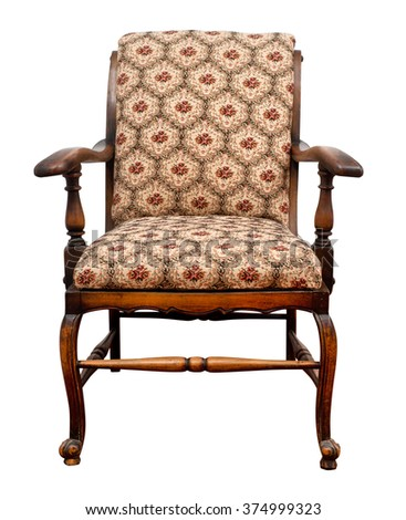 Vintage armchair on white background, clipping path. - stock photo