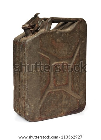Vintage army fuel jerrycan isolated on a white background - stock photo