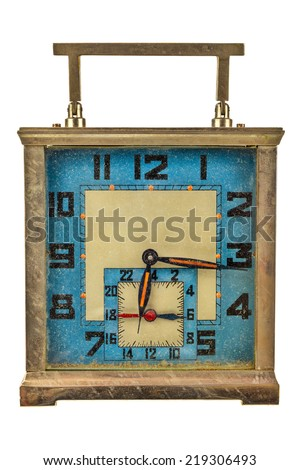 Vintage art deco table clock isolated on a white background - stock photo