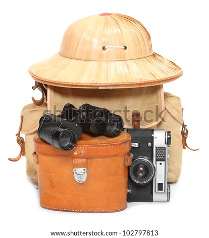 Vintage articles for travelers to the tropics. - stock photo