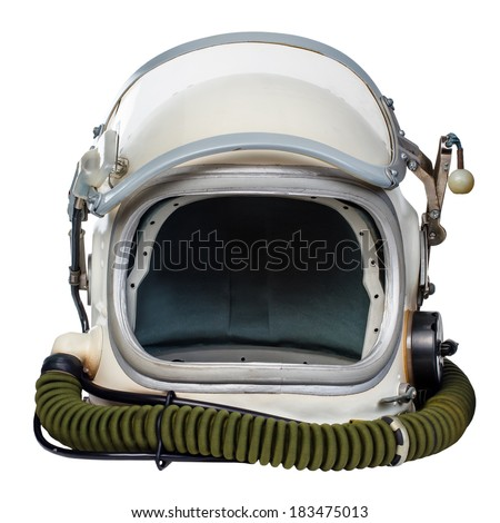 Vintage astronaut helmet isolated against a white background. - stock photo