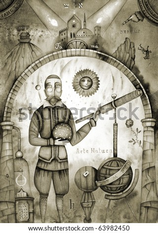 Vintage astronomer. Chymical Wedding of Christian Rosenkreutz - stock photo