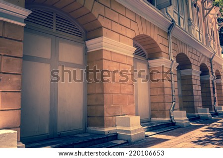 vintage background of old  building in Bangkok Thailand - stock photo