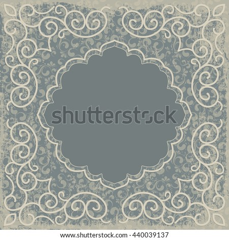 Vintage background, oldfashioned, ripped, grungy paper, ornate, royal, revival frame, old sticker, victorian ornament, floral luxury ornamental pattern template for decoration and design - stock photo