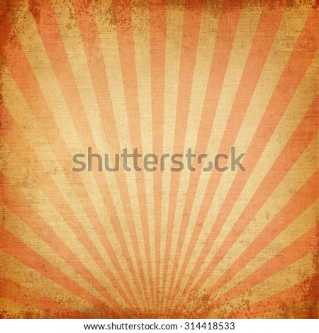 Vintage background Red rising sun or sun ray,sun burst retro paper be crumpled  - stock photo