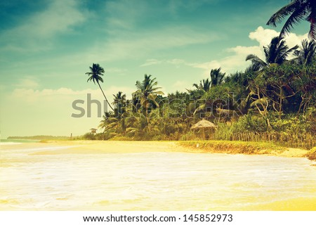 Vintage background. Retro tropical beach - stock photo