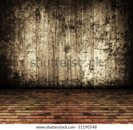 vintage background, rustic grunge abandoned house interior - stock photo