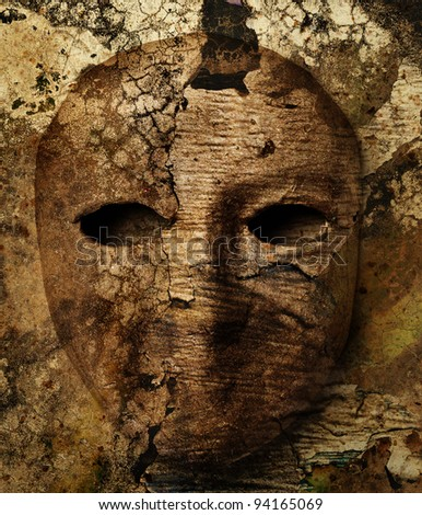 vintage background with a carnival mask - stock photo