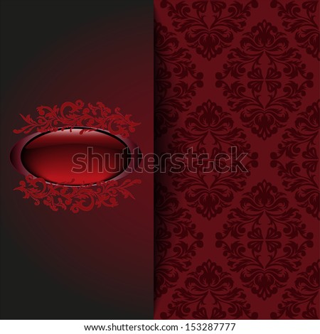 vintage background with a red ornament and place for the text - stock photo