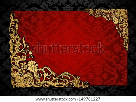 Vintage background with antique, luxury red and gold frame, victorian banner, damask floral wallpaper ornament, invitation card, baroque style booklet, fashion pattern, template for design - stock photo